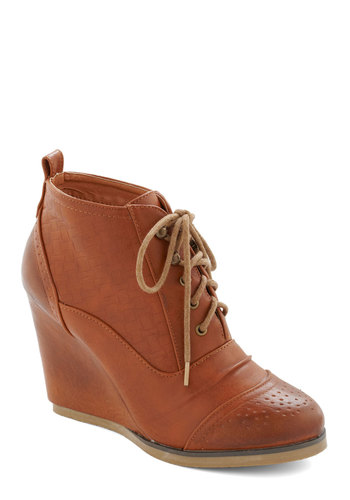 Forever Flaunted Wedge in Chestnut - Tan, Solid, Good, Platform, Wedge, Lace Up, Mid, Faux Leather