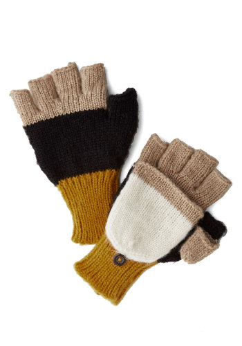 Fall for Autumn Convertible Gloves by Wooden Ships - Black, Yellow, Tan / Cream, White, Stripes, Colorblocking, Fall, Winter, Knit, Knitted, Casual