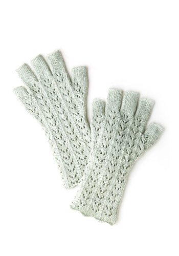 Warm Regards Fingerless Gloves by Wooden Ships - Mint, Solid, Knitted, Knit, Fall, Winter