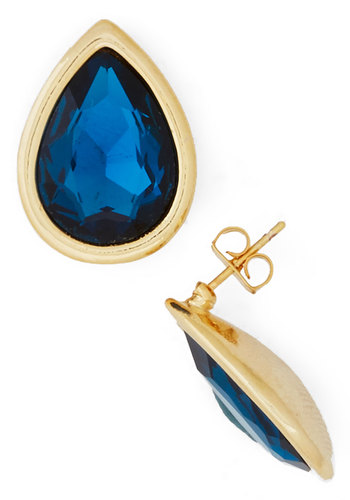Dramatic Style Earrings - Blue, Solid, Trim, Luxe, Gold, Cocktail, Holiday Party