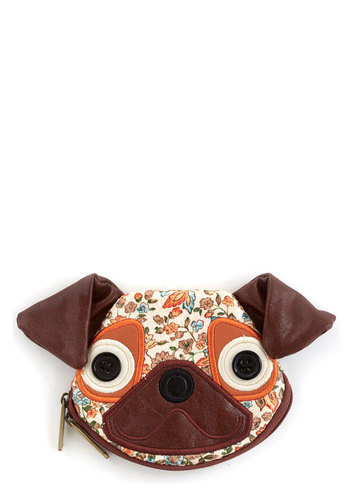 Coin Pooch Change Purse by Ollie & Nic - Faux Leather, Brown, Multi, Floral, Print with Animals, Travel, International Designer, Quirky