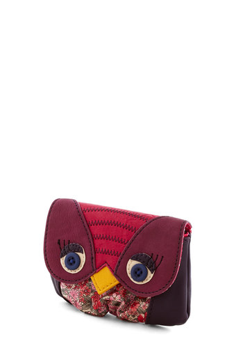 Owl of Your Change Wallet by Ollie & Nic - Faux Leather, Purple, Multi, Floral, Print with Animals, Owls, Travel, International Designer