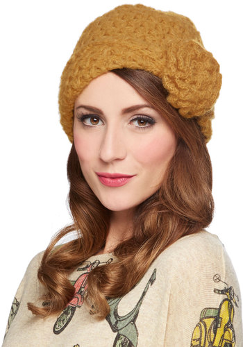 Let's Make a Teal Hat in Marigold by Wooden Ships - Yellow, Solid, Flower, Knitted, Fall, Winter, Knit, Variation, 20s