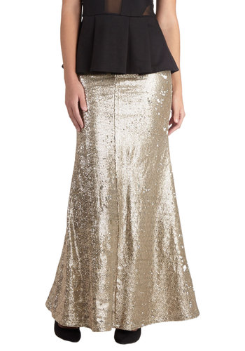 Tale as Gold as Time Skirt - Long, Gold, Solid, Sequins, Formal, Wedding, Party, Cocktail, Holiday Party, Luxe, Maxi, Knit, Gold