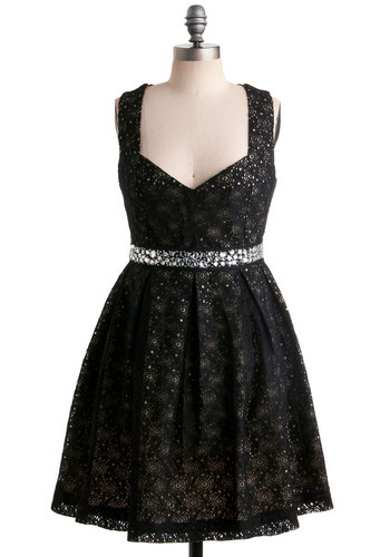 Eyelet Up the Room Dress - Mid-length, Cocktail, Fit & Flare, Sweetheart, Black, Rhinestones, Prom, Gifts Sale