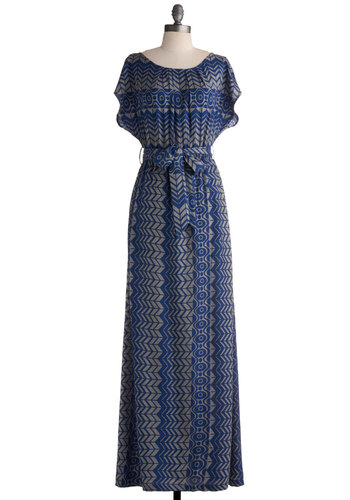 Maximum Miracle Dress - Print, Casual, Maxi, Short Sleeves, Blue, Grey, Beach/Resort, Long, Fall, Top Rated