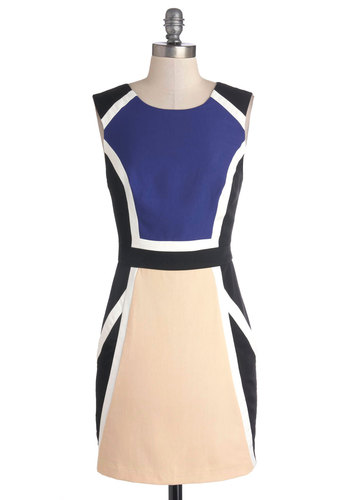 Amidst Magnificence Dress - Pockets, Colorblocking, Short, Woven, Tan / Cream, Black, White, Party, Sheath / Shift, Sleeveless, Better, Scoop, Blue, Work