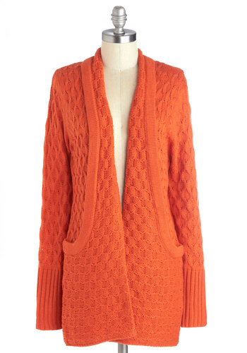Earnest Embrace Cardigan by Tulle Clothing - Orange, Solid, Pockets, Casual, Long Sleeve, Knit, Fall, Halloween
