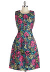 Prove Your Meadow Dress by Pink Martini - Floral, Long, Multi, Pockets, Party, A-line, Sleeveless, Better, Scoop