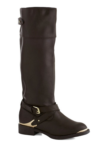 Riding Chic Boot - Brown, Solid, Buckles, Low, Faux Leather, Better