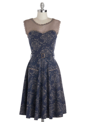 Blogging Molly Dress in Navy Floral by Effie's Heart - Blue, Grey, Floral, Pockets, Belted, Party, A-line, Sleeveless, Better, Variation, Scoop, Long, Cotton, Knit, Sheer