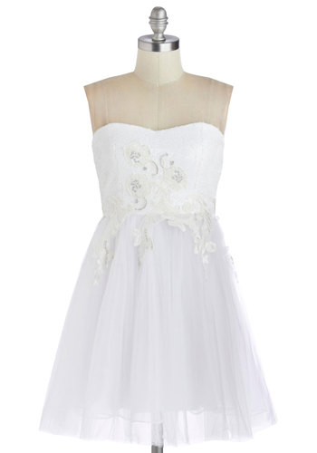 Full Court Impress Dress - Short, Woven, White, Solid, Lace, Sequins, Wedding, Bride, A-line, Strapless, Better, Sweetheart
