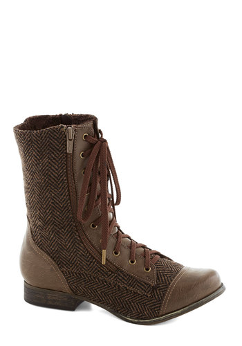 The Road Lace Traveled Boot in Chestnut - Low, Faux Leather, Brown, Safari, Steampunk, Good, Lace Up, Herringbone, Variation, Fall