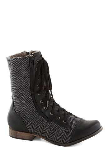 The Road Lace Traveled Boot in Asphalt - Low, Faux Leather, Black, Grey, Safari, Good, Lace Up, Herringbone, Casual, Variation, Fall