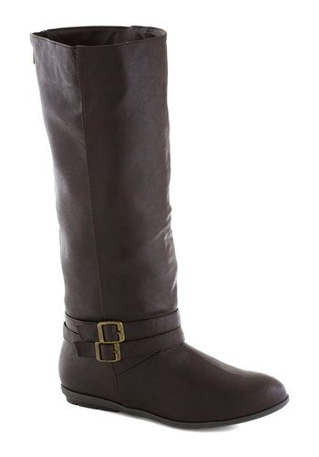 Scenic Root Boot - Low, Faux Leather, Black, Solid, Buckles, Good, Exposed zipper