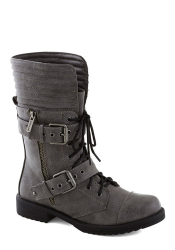 Cement to Be Boot - Low, Faux Leather, Grey, Buckles, Military, Good, Lace Up, Solid, Urban