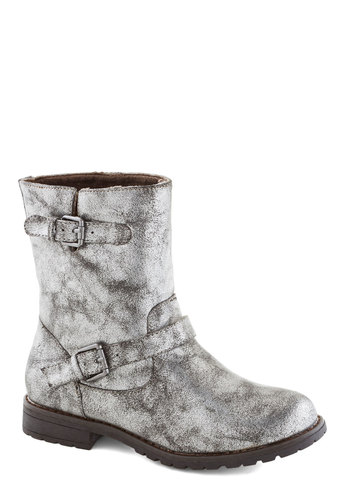 Take One for the Gleam Boot in Pewter - Low, Faux Leather, Silver, Print, Buckles, Good, Casual, Fall, Winter, Variation