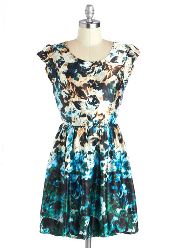Tide and Joy Dress - Woven, Green, Blue, Tan / Cream, Floral, Bows, Cutout, A-line, Better, Scoop, Multi, Cap Sleeves, Casual
