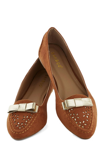 Glistening Getaway Flat - Flat, Tan, Gold, Bows, Good, Cutout, Casual