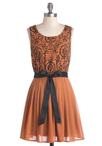 Treats of the Season Dress - Black, Print, Belted, Daytime Party, A-line, Tank top (2 thick straps), Good, Scoop, Mid-length, Chiffon, Woven, Orange, Pleats, Party, Halloween, Fall