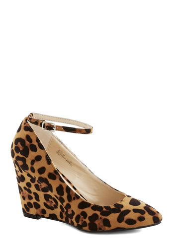 A Wink of Whimsical Wedge in Leopard - High, Tan, Brown, Black, Animal Print, Work, Good, Wedge