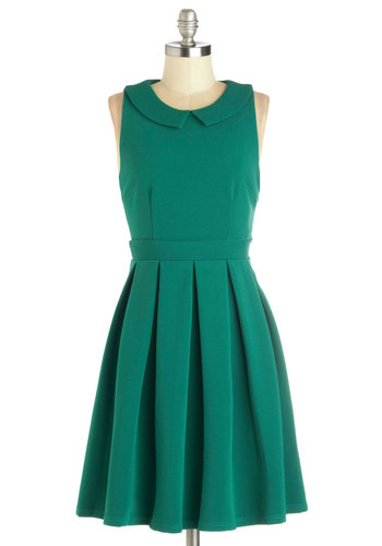 Schenley Park Picnic Dress - Green, Solid, Peter Pan Collar, Pleats, Casual, Vintage Inspired, A-line, Sleeveless, Good, Collared, Mid-length, Knit, Work