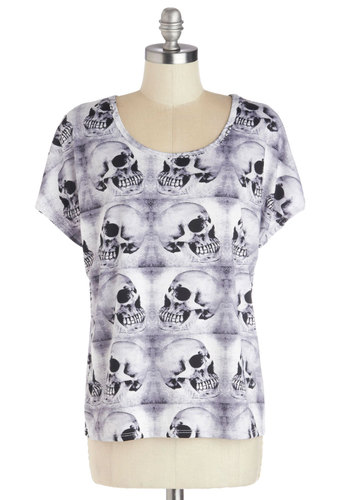 Read Skull About It Top - White, Casual, Short Sleeves, Good, Knit, Black, Novelty Print, Halloween, Skulls, Multi, Multi, Short Sleeve, Mid-length