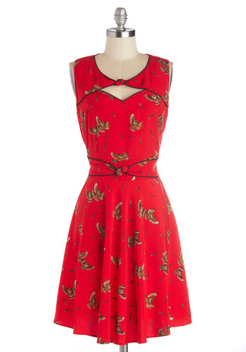Good Ol' Daisy Dress in Owls by Trollied Dolly - Red, Brown, Print with Animals, Cutout, Daytime Party, Owls, A-line, Sleeveless, Better, Scoop, International Designer, Mid-length, Woven, Vintage Inspired, 40s, 50s, Variation