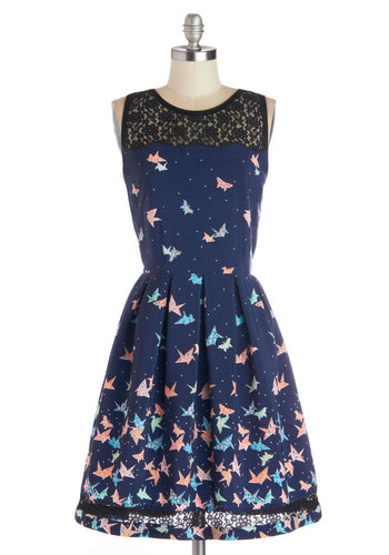 Flight of Fanciful Dress by Trollied Dolly - Blue, Orange, Green, Pink, White, Novelty Print, Lace, Daytime Party, A-line, Better, Scoop, International Designer, Sheer, Woven, Long, Top Rated