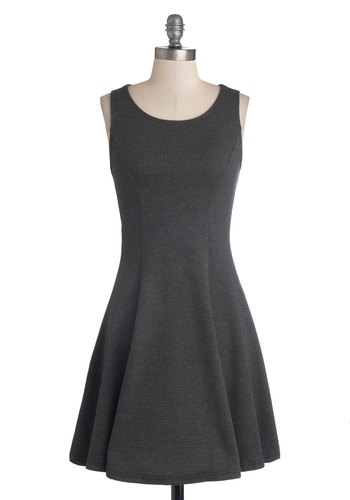 Fashionable Fact Dress - Knit, Mid-length, Grey, Houndstooth, Casual, A-line, Tank top (2 thick straps), Good, Scoop