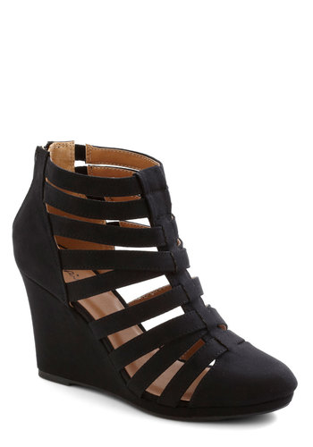 Berlin Nightlife Wedge in Black - Mid, Faux Leather, Black, Solid, Urban, Good, Wedge, Strappy, Cutout, Party, Girls Night Out, Variation
