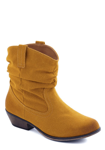 For the Trek of It Boot in Gold - Faux Leather, Low, Yellow, Solid, Good, Variation