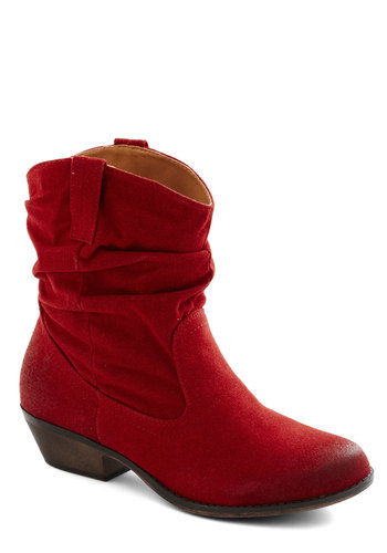 For the Trek of It Boot in Crimson - Low, Faux Leather, Red, Solid, Good, Variation