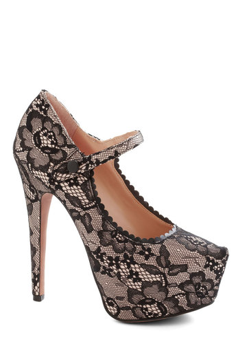 Betsey Johnson Lace to be Seen Heel by Betsey Johnson - Black, Tan / Cream, Lace, Formal, Prom, Wedding, Party, Cocktail, Girls Night Out, Bridesmaid, Bride, Luxe, High, Best, Mary Jane, Platform, Scallops