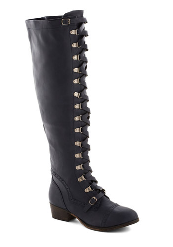 Classics Beauty Boot in Navy - Blue, Solid, Steampunk, Low, Better, Lace Up, Faux Leather, Fall, Variation
