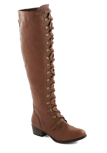 Classics Beauty Boot in Tan - Tan, Solid, Steampunk, Low, Better, Lace Up, Faux Leather, Fall, Variation