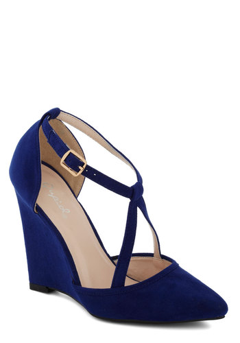 Executive Outing Heel in Sapphire - High, Blue, Solid, Special Occasion, Prom, Wedding, Party, Cocktail, Girls Night Out, Graduation, Bridesmaid, Bride, Good, Wedge, Variation