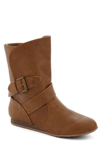 Cider Donuts Boot in Tan - Low, Faux Leather, Tan, Solid, Buckles, Good, Variation, Basic, Fall
