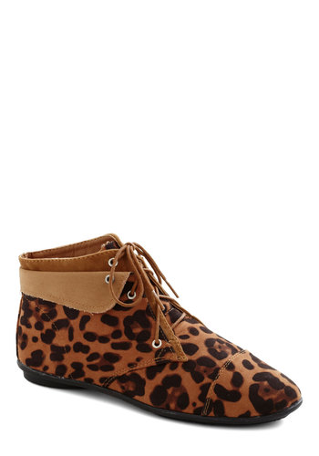 Above the Foldover Bootie in Leopard - Low, Tan, Animal Print, Statement, Good, Lace Up, Brown, Black