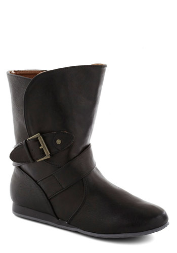 Cider Donut Boot in Black - Low, Faux Leather, Black, Solid, Buckles, Good, Wedge, Variation, Basic, Fall