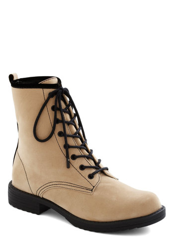 One Bold Baker Boot in Dough - Low, Tan, Black, Trim, Military, Good, Lace Up, Faux Leather, Variation