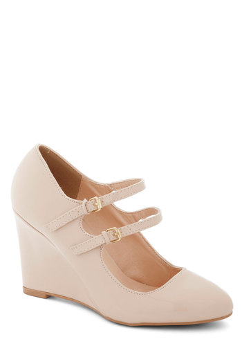 Got It Down Patent Wedge in Cream - High, Solid, Work, Graduation, Good, Wedge, Cream, Scholastic/Collegiate, Faux Leather, Mary Jane, Variation