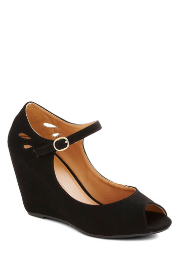 Mind Over Matte Wedge in Noir - High, Faux Leather, Black, Solid, Cutout, Good, Wedge, Peep Toe, Daytime Party, Mary Jane