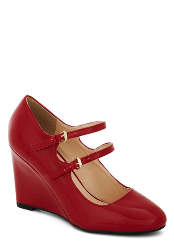 Got It Down Patent Wedge in Scarlet - Mid, Faux Leather, Red, Solid, Work, Graduation, Good, Wedge, Scholastic/Collegiate, Variation