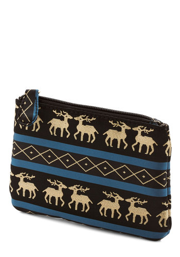 On Dashing, On Dancer Pouch - Black, Blue, Stripes, Print with Animals, Travel, Good, Satin, Gold, Holiday, Folk Art