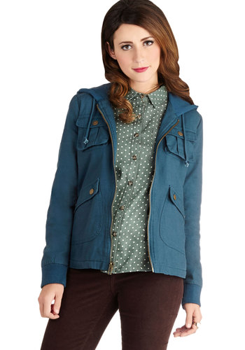 Take to the Lake Jacket by Jack by BB Dakota - 2, Blue, Solid, Buttons, Pockets, Hoodie, Long Sleeve, Variation, Good, Mid-length, Cotton, Woven, Exposed zipper, Blue