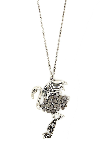 Flamingo Dancer Necklace - Grey, Print with Animals, Good, Silver, Rhinestones, Gifts Sale