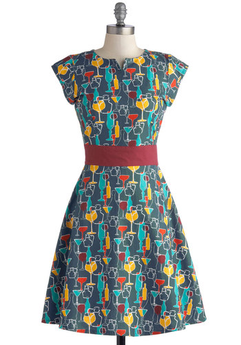 Toast to Coast Dress by Mata Traders - Blue, Multi, Novelty Print, Casual, A-line, Cap Sleeves, Better, Cotton, Woven, Mid-length