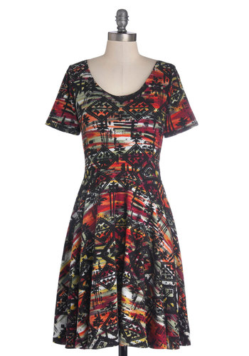 Intuitive Artwork Dress - Mid-length, Jersey, Cotton, Knit, Print, Casual, A-line, Short Sleeves, Good, Scoop, Multi