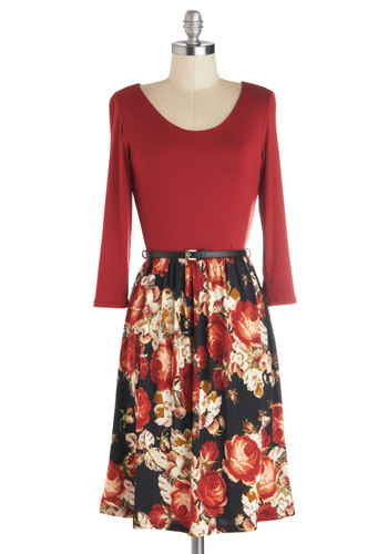Pixelate Date Dress - Red, Black, Floral, Belted, Casual, Twofer, 3/4 Sleeve, Good, Scoop, Mid-length, Knit, Woven, Fall, Top Rated